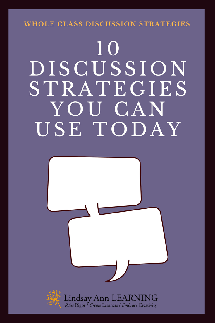 Student Led Discussion Strategies for Whole Class Discussion